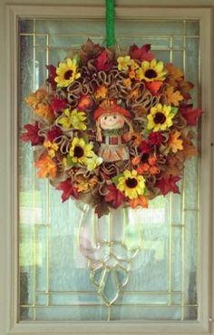 Fall Scarecrow Wreath for Front Door, Scarecrow Wreath, Fall Foliage Wreath, Autumn Leaves, Autumn Wreath, Harvest Wreath, Fall Leaves Decor Wreaths For Sale, Wreaths For Front Door, Door Wreaths, Autumn Wreaths, Wreath Fall, Holiday Wreaths, Pumpkin Wreath, Diy Wreath, Burlap Wreath