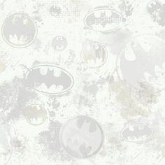 York Wallcoverings ZB3295 Batman Wallpaper Soft Gray / Medium Gray / Slate Gray. Off White Home Decor Wallpaper Wallpaper