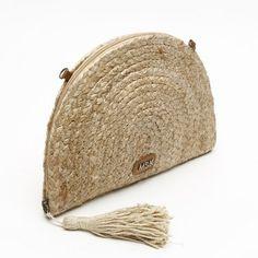 Bolso de fiesta de mujer Parfois textura rafia con pompones