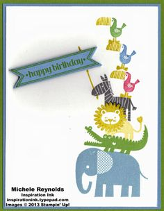 Fun, handmade birthday card featuring Stampin' Up! Zoo Babies Set and Itty Bitty Banners Set.