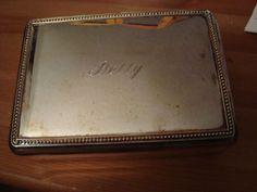 "Vintage Silver Plate Monogrammed ""Betty"" Rings Earrings Jewelry Case W/ Velvet"