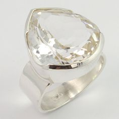 925 Sterling Silver Nice Ring Size US 6.25 Real CRYSTAL QUARTZ Gemstone Exporter #Unbranded