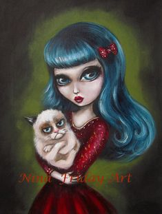 You Have To Ask My Cat big eyed girl holding Tard by ninafriday, $50.00