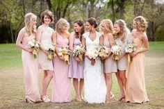 pastel bridesmaids dresses long and short Ombre Bridesmaid Dresses, Lavender Bridesmaid Dresses, Wedding Dresses, Bridesmaid Color, Bridesmaids And Groomsmen, Wedding Bridesmaids, Floral Bridesmaids, Bridesmaid Inspiration, Wedding Inspiration
