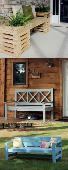 Large outdoor porch bench X back wood diy plans tutorial gray painted wood stained siding ANA-WHITE. Staining Wood, Diy Wood Stain, Porch Bench, Diy Furniture Plans, Diy Outdoor, Outdoor Storage Bench, Wood Bench, Front Porch Bench, Wood Diy