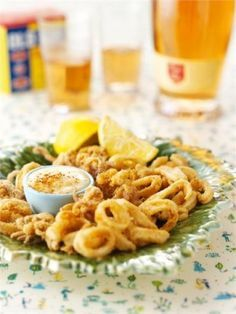 { quick calamari w/ garlic mayonnaise } Recipe by Nigella Lawson Greek Recipes, Fish Recipes, Seafood Recipes, Cooking Recipes, Squid Recipes, Nigella Lawson, Osvaldo Gross, Calamari Recipes, Fried Calamari