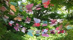 9 Foot Vintage Butterfly Garland/Banner on jute ribbon for tea party, wedding, indoor/outdoor decor on Etsy, $24.00