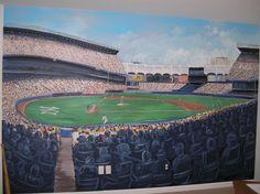 Kids room mural ideas on pinterest murals wall murals for Baseball field mural