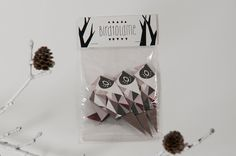 Pack of three origami Birds with pattern print, packed, Berry, Grey, Rose, Taupe