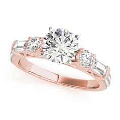 Transcendent Brilliance 14k Gold 1 3/8ct TDW Diamond 3-Stone Engagement Ring (G, VS2) (Rose - Size 4.25), Women's, Pink