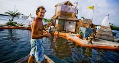 """The New Spiral Island British environmentalist and eco-pioneer Richart """"Rishie"""" Sowa, who believes in recycling and low-impact living, has built his own floating island in a lagoon by Isla Mujeres, Mexico. The island is built on over 100 000 plastic bottles and is about 20m in diameter. It has beaches, a house where Sowa lives, 2 ponds, a solar-powered waterfall/river, and solar panels. Mangroves, palmtrees and other plants are growing on it. This is the second Island Sowa has built; The…"""