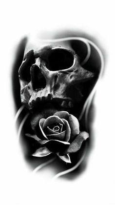 37 Ideas For Tattoo Designs Skull Skeletons Evil Skull Tattoo, Skull Rose Tattoos, Skull Sleeve Tattoos, Skeleton Tattoos, Demon Tattoo, Skull Tattoo Design, Tattoo Sleeve Designs, Skull Design, Black Tattoos