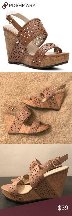 "Adrienne Vittadini Countiss Wedge Sandal Khaki Adrienne Vittadini Countiss Wedge Sandal Women Open Toe Khaki •Color: Burnished/Nude/Beige/Khaki  •Material: Leather Upper And Man-Made Outsole •Measurement: 4.5"" Heel •Width: B(M) Adrienne Vittadini Shoes Wedges"