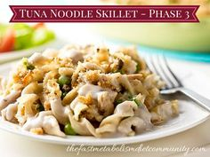 Did you enjoy your Tuna Fish salad? Craving for more delicious, tuna recipe? Try our Tuna Noodle Skillet recipe! This Tuna Noodle Skillet pasta is cooked faster with no baking required. It's a healthy quinoa pasta that is rich in fiber to help you feel fuller and satisfied. Packed with delicious almond cheese and coconut milk, this recipe is an ideal recipe for your phase 3 dinner.