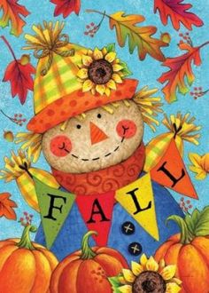 Fall Scarecrow Flag - All For Garden Scarecrow Painting, Autumn Painting, Autumn Art, Tole Painting, Halloween Wood Crafts, Fall Crafts, Fall Halloween, Thanksgiving Iphone Wallpaper, Holiday Wallpaper
