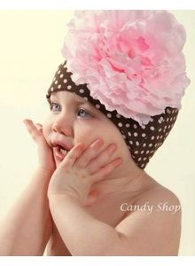 Brown and Pink Polka Dot Hat with Flower