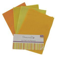 SET PANNOLENCI A4 - Giallo Set da 8 fogli di pannolenci nelle tonalità del giallo in formato A4, 2 fogli per ogni colore. Dimensione: circa 20x30 cm
