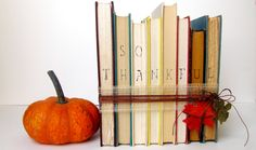 Vintage Book Thanksgiving Decor - SO THANKFUL - Thanksgiving Hostess Gift, Fall Gift, Fall Decor, Vintage Gift, Vintage Decor. $ 25.00, via Etsy.