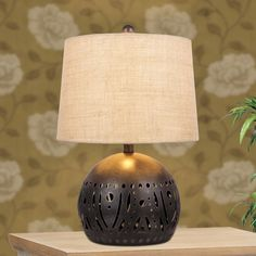 21-inch Brown Rustic Cut Metal Table Lamp with a Base Nightlight Feature