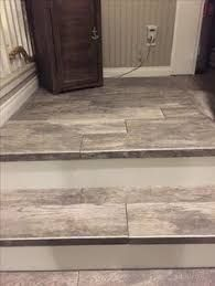 Image result for porcelain wood tile stairs