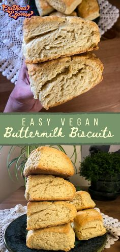 Comes out fluffy and tender every time! In just 30 minutes you have warm, golden, and flaky biscuits, ready to top with butter or peanut butter. The perfect vegan breakfast. Vegan Appetizers, Vegan Snacks, Vegan Desserts, Vegetarian Dinners, Vegetarian Recipes, Snack Recipes, Vegan Meals, Vegan Biscuits, Flaky Biscuits