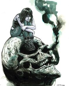 """funrama: """"Death from Sandman. Watercolors and inks on watercolor paper. """""""