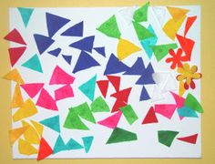 Toddler Mosaic using little felt triangles. Could do this with multi-colored tissue paper too