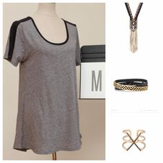 LuLaRoe Classic tee and Stella & Dot Nile necklace, Ally Wrap bracelet, and Pave Sphinx Ring #stelladotstyle #LuLaROeMG