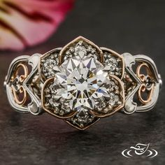 ROSE GOLD & PLATINUM LOTUS RING WITH FILIGREE HEARTS