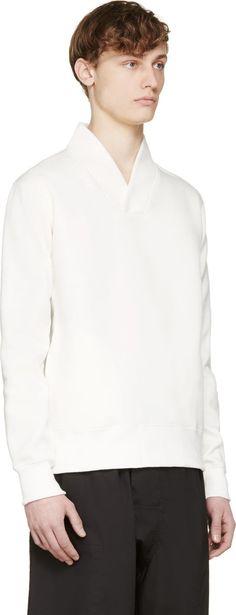 Sasquatchfabrix Off-White Shawl Collar Sweatshirt