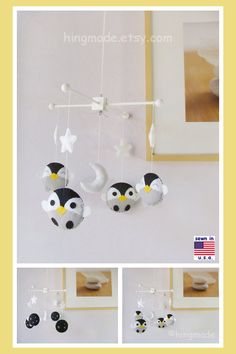 ON SALE Penguin Mobile Baby Mobile Baby Crib Mobile by hingmade