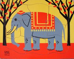 "10"" square Indian elephant print jigsaw puzzle, designed by Fredun Shapur, United Kingdom, 1964-65, by Galt Toys."