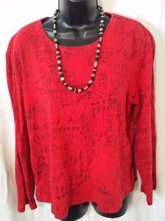 Unique Women's Chico's Design Size 3 Red Oriental Print Pull-over Blouse  #Chicos #KnitTop #Casual