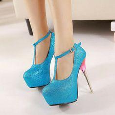 Fantastic Blue PU Round Closed Toe Stiletto Super High Heel T Strap Pumps Super High Heels, Hot High Heels, Sexy Heels, High Heels Stilettos, Stiletto Heels, Shoes Heels, Pumps, Dream Shoes, Crazy Shoes