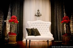 Red, black and white vintage Indian wedding stage by http://www.theperfectsetting.ca/   photography by kumariphotoanddesign.com