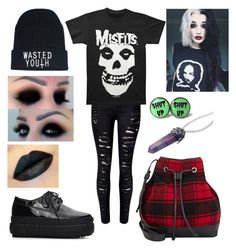 """""""emo/goth outfit"""" by rimante-yolo ❤ liked on Polyvore featuring WithChic, Barneys New York, black, red, emo and goth"""