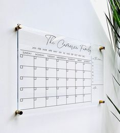 Personlized Acrylic Calendar For Wall dry erase board Desk Calendars, Family Calendar, Calendar Ideas, Family Command Center, Command Centers, Organization Station, Office Organization, Minimalist Office, Houses