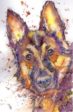 JOSIE P. PRINT LARGE Original Watercolor German Shepherd Dog Art