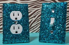 Teal Room Decor SET of Chunky TEAL Glitter Switch Plate Outlet Cover ALL Styles Available >>> Be sure to check out this awesome product. Teal Room Decor, Teal Rooms, Teal Girls Bedrooms, My New Room, My Room, Girl Room, Fun Crafts, Diy And Crafts, Do It Yourself Design