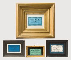 Lot 74: Seven Framed Shaker Labels