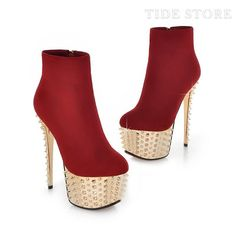 US$71.99 Glamorous Red Ankle High Dull Polish Round Toe Stiletto Heel Boots. #Ankle #Ankle #High #Red