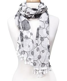 Another great find on #zulily! White Embroidered Polka Dot Scarf by Tickled Pink #zulilyfinds