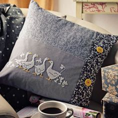 Gagge of Geese - Project Available in Cross Stitch Collection 254 (October Cross Stitch Cushion, Cross Stitch Bird, Cross Stitch Borders, Cross Stitch Animals, Cross Stitch Designs, Cross Stitching, Cross Stitch Embroidery, Cross Stitch Patterns, Crochet Pillow Cases