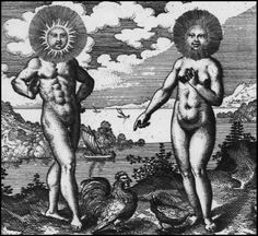 An engraving from Michael Maier's alchemical text, Atalanta fugiens, (1618), showing the Sun and Moon as the twin complementary principles of the alchemical work.