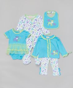 Duck Duck Goose Turquoise & Lime Zebras Five-Piece Layette Set - Infant by Duck Duck Goose #zulily #zulilyfinds