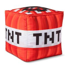 This Minecraft TNT Cube Red Cushion is a great addition to your bedroom or living room. This novelty shaped pillow is made from durable polyester material and is sure to add some character and depth to your room. Spot or wipe clean only. Minecraft Pillow, Minecraft Bedding, Minecraft Bedroom Decor, Minecraft Room, Minecraft Party, Minecraft Posters, Minecraft Crafts, Minecraft Crochet, Minecraft Decorations