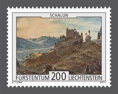 Sello: Ruin, Schalun (Liechtenstein) (Castles in Liechtenstein) Mi:LI 1612,Zum:LI 1557