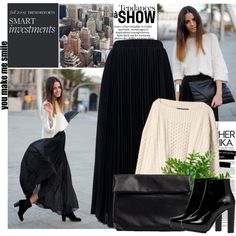 """Pleated Black Skirt"" by bklana on Polyvore"