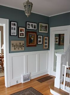 Love the paint color with the white and light wood floors!
