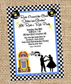 50s 60s Rock n Roll Sock Hop Birthday Party by MagnoliaSkyDesign